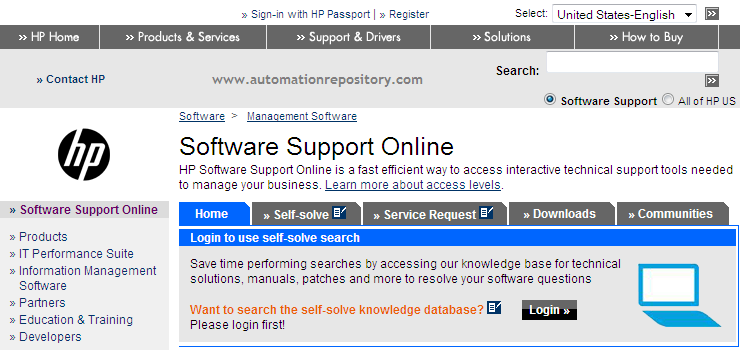 Hp Support OpenView Page