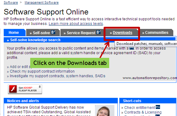 HP Support OpenView Page - Downloads Section
