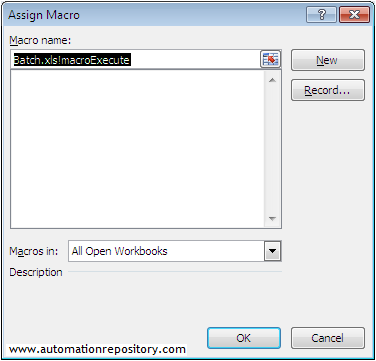 Assign new macro to execute button - QTP Hybrid Framework