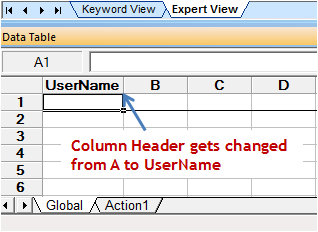 Changing Column Header in QTP Data Table