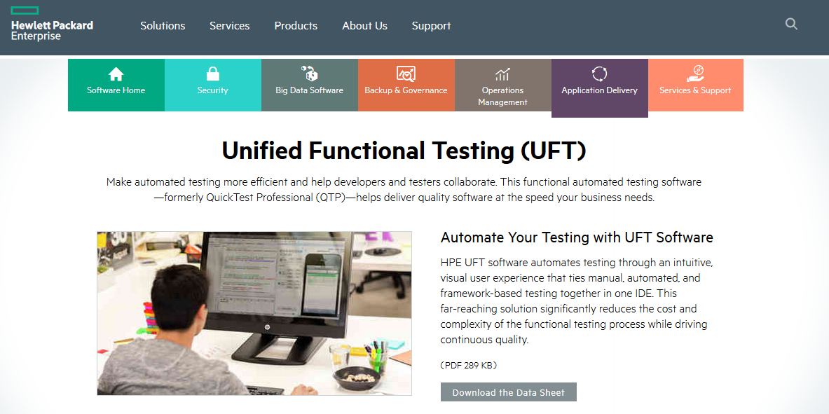 UFT 12.52 Download - Landing Page