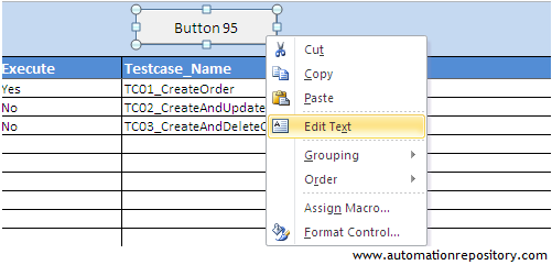 Edit the properties of Execute button