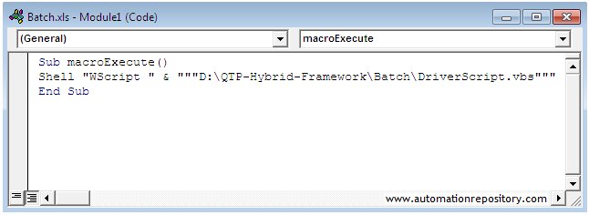 QTP Hybrid Framework - Excel macro with VBScript file call