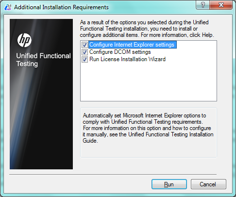 Install UFT 11.5 - Additional Installation Information Screen