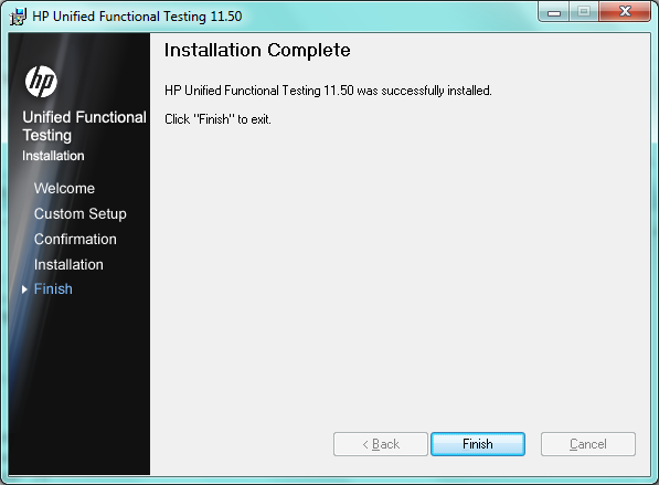 Install UFT 11.5 - Installation Complete Screen