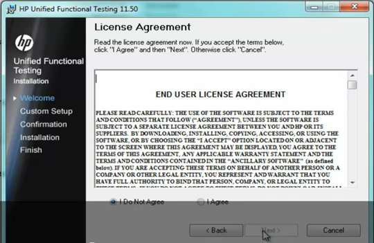 Install UFT 11.5 - License Agreement screen