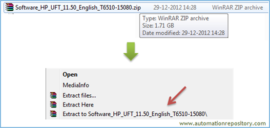 Install UFT 11.5 - unzip the file