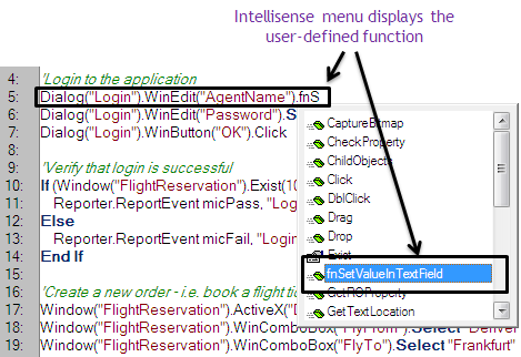 QTP Hybrid Framework - custom function displayed in intellisense menu
