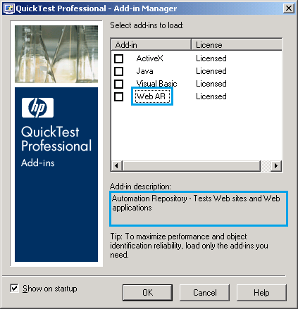 QTP Add-in Manager : Modified Details