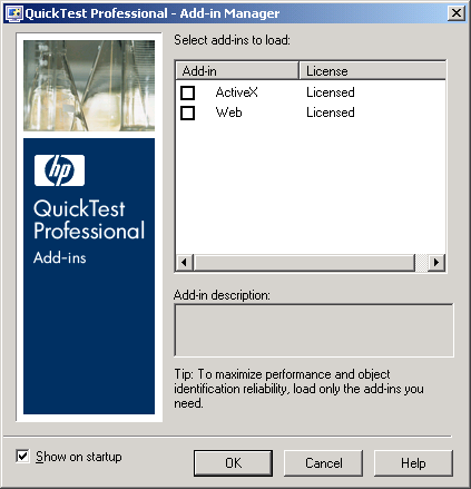 QTP Add-in Manager Screen