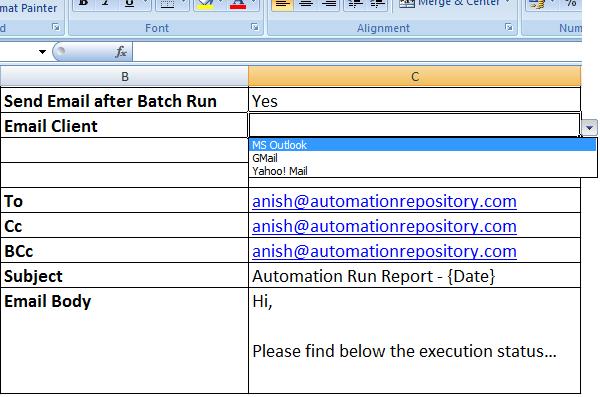 QP Hybrid Framework - Email Configuration