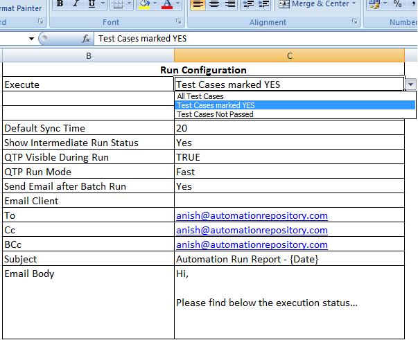 External Framework Configuration Settings