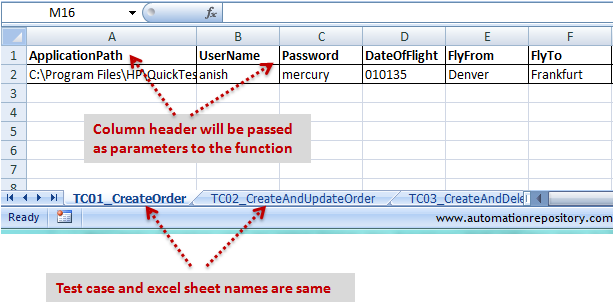 QTP Hybrid Framework - Structure of excel data sheets