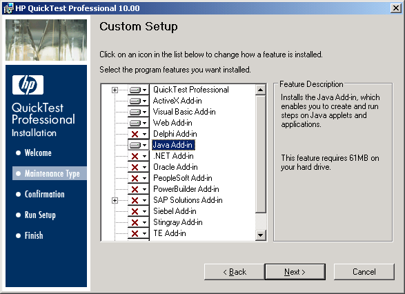 QTP Setup Wizard - Custom Setup