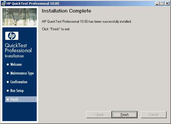 QTP Setup Wizard - Installation Complete