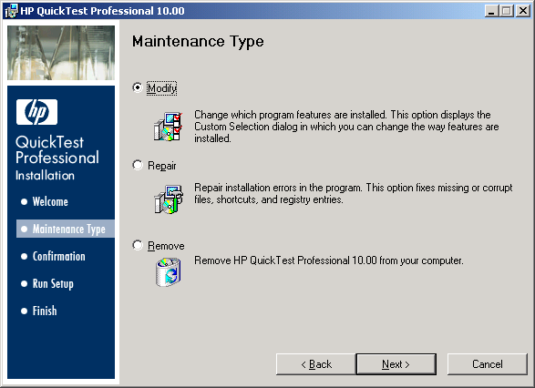 QTP Setup Wizard - Maintenance Type