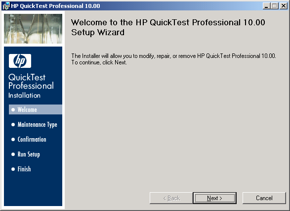 QTP Setup Wizard - Welcome Screen