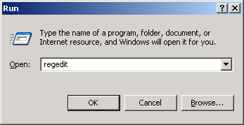 Regedit in Run Dialog Box