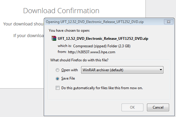 UFT 12.52 - Download Confirmation